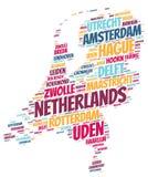 Nuage supérieur néerlandais de mot de destinations de voyage Image libre de droits