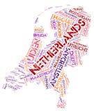 Nuage supérieur néerlandais de mot de destinations de voyage Photo libre de droits