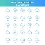 25 nuage vert et bleu SEO Icon Pack de Futuro illustration stock