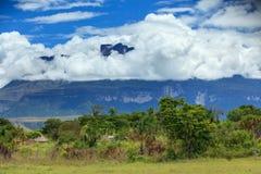 Nuages au-dessus de montagne de Tepui et de la jungle Image stock