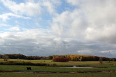 Nuages au-dessus des terres cultivables dans l'automne images libres de droits