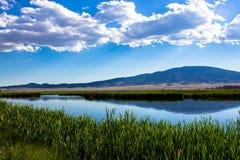 Nuages au-dessus du grands lac et marais chez Monte Vista National Wildlife Refuge dans le Colorado du sud Images libres de droits