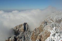 Nuages au-dessus du panorama deux de Sandias Photo stock