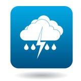 Nuages avec l'icône de baisses de foudre et de pluie Photos libres de droits