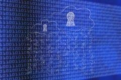 Nuages avec les serrures de circuit électronique et la pluie du code binaire Images stock