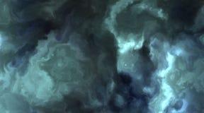 Nuages bleus et cyan orageux dans une nébuleuse l'espace, lentement en se déplaçant, en formant et en se dissolvant illustration stock