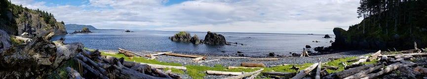 Nuages d'île d'arbres de montagnes de l'eau de kodiak d'océan de nature de l'Alaska photographie stock
