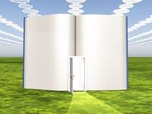 Nuages d'ADN avec le livre ouvert Photo stock