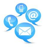 Nuages d'icônes de Web de contactez-nous Photo stock