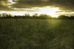 Nuages de champ de coucher du soleil Photo libre de droits