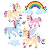 Nuages de chevaux de poneys d'arc-en-ciel Image libre de droits