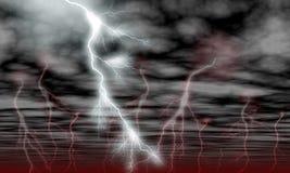 Nuages de ciel et foudre de tempête illustration stock