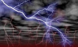 Nuages de ciel et foudre de tempête illustration de vecteur