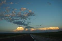 Nuages de coucher du soleil du Wyoming Photographie stock
