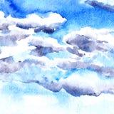 Nuages de dessin d'aquarelle Photo libre de droits