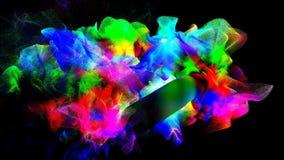 Nuages de fumée colorée dans l'obscurité, illustration 3d Photographie stock libre de droits