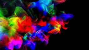 Nuages de fumée colorée dans l'obscurité, illustration 3d Images libres de droits