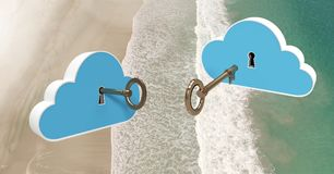 nuages de la clé 3D flottant au-dessus de la plage Photos stock