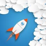 Nuages de livre blanc avec Rocket Blue Sky Photos stock