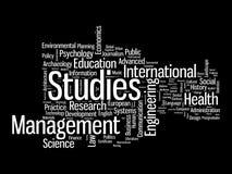 Nuages de mot de diplômé et d'information-texte de postgr Images stock