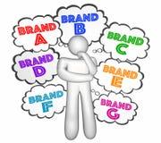 Nuages de pensée de Customer Choosing Best Company de choix de noms de marque Photographie stock libre de droits