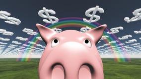 Nuages de porc et de dollar Images stock