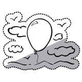 Nuages de silhouette d'autocollant avec le ballon à air Images libres de droits