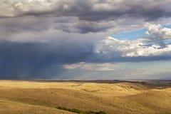 Nuages de tempête au-dessus d'une prairie images libres de droits
