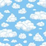 Nuages de vecteur dans le modèle sans couture de ciel bleu illustration stock