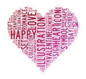 Nuages des textes de symbole d'amour Image stock
