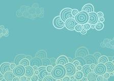 Nuages en spirale stylisés sur le fond bleu Image stock
