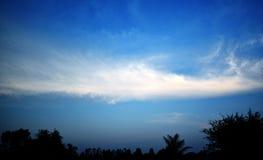 Nuages et arbres de ciel le soir Photographie stock libre de droits