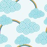 Nuages et arcs-en-ciel de Swirly Image stock
