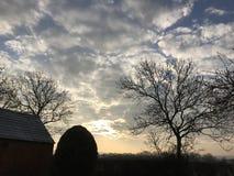 Nuages et paysage de lever de soleil de vue de ciel d'arbres Photographie stock libre de droits