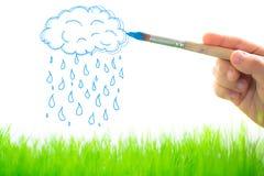 Nuages et pluie de dessin Photographie stock libre de droits