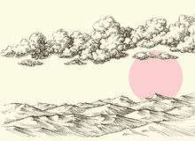 Nuages et soleil au-dessus des dunes de sable de désert illustration stock