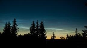Nuages Noctilucent Phénomène atmosphérique Nuages mesospheric brillants au crépuscule images stock