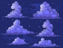 Nuages nocturnes de bande dessinée Image stock