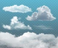 Nuages réalistes transparents Photo stock