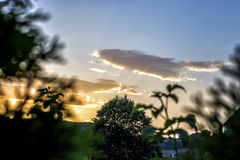 Nuages romantiques dans le coucher du soleil Images stock
