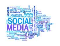 Nuages sociaux de mot de dessins d'information-texte de medias Images stock