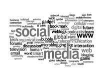 Nuages sociaux de mot de dessins d'information-texte de medias Image stock