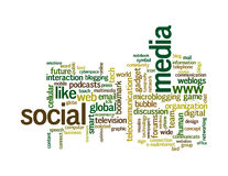 Nuages sociaux de mot de dessins d'information-texte de medias Photos stock
