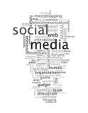 Nuages sociaux de mot de dessins d'information-texte de medias Images libres de droits