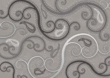 Nuances de Gray Paisley Pattern Background Photographie stock