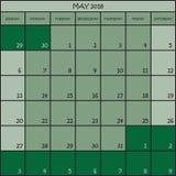 05 2018 nuances de la couleur trois de vert Photo libre de droits