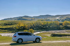 Nuanhe River autumn scenery and car Stock Photos