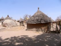 Nuba-Dorf in Sudan Lizenzfreie Stockfotos
