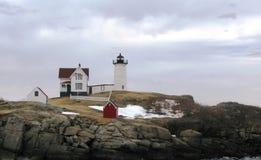 nubble Υόρκη του Maine λιμενικών φάρων Στοκ Φωτογραφία