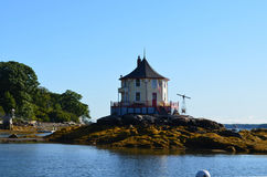 The Nubble in Casco Bay. The iconic Nubble house off Bustin's Island in Maine Stock Photo